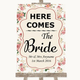 Vintage Roses Here Comes Bride Aisle Sign Customised Wedding Sign