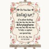 Vintage Roses Instagram Photo Sharing Customised Wedding Sign