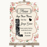 Vintage Roses Jenga Guest Book Customised Wedding Sign