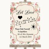 Vintage Roses Let Love Sparkle Sparkler Send Off Customised Wedding Sign