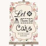 Vintage Roses Let Them Eat Cake Customised Wedding Sign