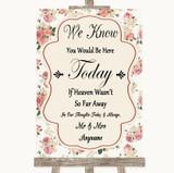Vintage Roses Loved Ones In Heaven Customised Wedding Sign
