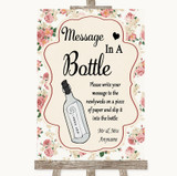Vintage Roses Message In A Bottle Customised Wedding Sign