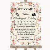 Vintage Roses No Phone Camera Unplugged Customised Wedding Sign