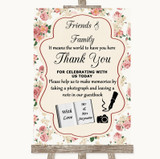 Vintage Roses Photo Guestbook Friends & Family Customised Wedding Sign