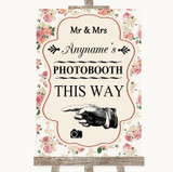Vintage Roses Photobooth This Way Left Customised Wedding Sign