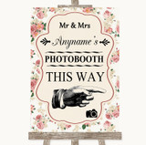 Vintage Roses Photobooth This Way Right Customised Wedding Sign