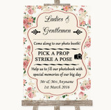 Vintage Roses Pick A Prop Photobooth Customised Wedding Sign