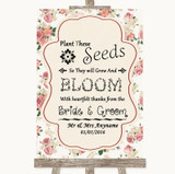 Vintage Roses Plant Seeds Favours Customised Wedding Sign