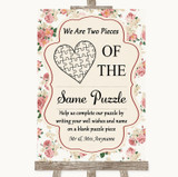 Vintage Roses Puzzle Piece Guest Book Customised Wedding Sign