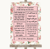 Vintage Roses Romantic Vows Customised Wedding Sign