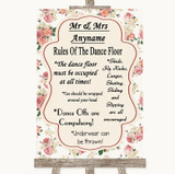 Vintage Roses Rules Of The Dancefloor Customised Wedding Sign