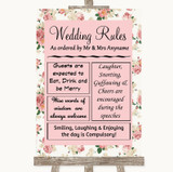 Vintage Roses Rules Of The Wedding Customised Wedding Sign