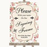 Vintage Roses Signing Frame Guestbook Customised Wedding Sign