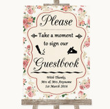 Vintage Roses Take A Moment To Sign Our Guest Book Customised Wedding Sign