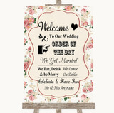 Vintage Roses Welcome Order Of The Day Customised Wedding Sign