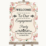 Vintage Roses Welcome To Our Engagement Party Customised Wedding Sign