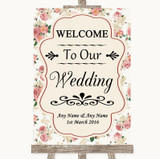 Vintage Roses Welcome To Our Wedding Customised Wedding Sign