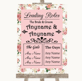 Vintage Roses Who's Who Leading Roles Customised Wedding Sign