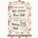 Vintage Roses Wishing Well Message Customised Wedding Sign