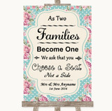 Vintage Shabby Chic Rose As Families Become One Seating Plan Wedding Sign