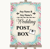 Vintage Shabby Chic Rose Card Post Box Customised Wedding Sign