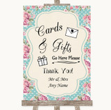 Vintage Shabby Chic Rose Cards & Gifts Table Customised Wedding Sign