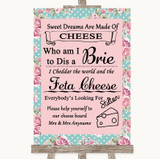 Vintage Shabby Chic Rose Cheese Board Song Customised Wedding Sign