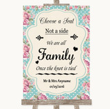 Vintage Shabby Chic Rose Choose A Seat We Are All Family Wedding Sign