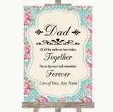 Vintage Shabby Chic Rose Dad Walk Down The Aisle Customised Wedding Sign
