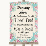 Vintage Shabby Chic Rose Dancing Shoes Flip-Flop Tired Feet Wedding Sign