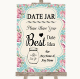 Vintage Shabby Chic Rose Date Jar Guestbook Customised Wedding Sign