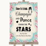 Vintage Shabby Chic Rose Drink Champagne Dance Stars Customised Wedding Sign