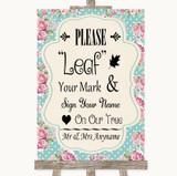 Vintage Shabby Chic Rose Fingerprint Tree Instructions Customised Wedding Sign