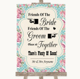 Vintage Shabby Chic Rose Friends Of The Bride Groom Seating Wedding Sign