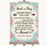 Vintage Shabby Chic Rose Grab A Bag Candy Buffet Cart Sweets Wedding Sign