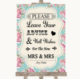 Vintage Shabby Chic Rose Guestbook Advice & Wishes Lesbian Wedding Sign