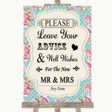 Vintage Shabby Chic Rose Guestbook Advice & Wishes Mr & Mrs Wedding Sign