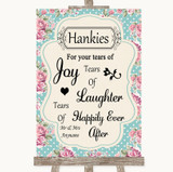 Vintage Shabby Chic Rose Hankies And Tissues Customised Wedding Sign