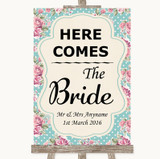 Vintage Shabby Chic Rose Here Comes Bride Aisle Sign Customised Wedding Sign
