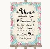 Vintage Shabby Chic Rose I Love You Message For Mum Customised Wedding Sign