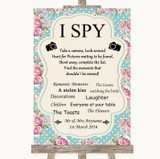 Vintage Shabby Chic Rose I Spy Disposable Camera Customised Wedding Sign