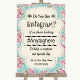Vintage Shabby Chic Rose Instagram Photo Sharing Customised Wedding Sign