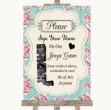 Vintage Shabby Chic Rose Jenga Guest Book Customised Wedding Sign