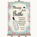 Vintage Shabby Chic Rose Message In A Bottle Customised Wedding Sign