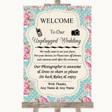 Vintage Shabby Chic Rose No Phone Camera Unplugged Customised Wedding Sign