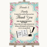 Vintage Shabby Chic Rose Photo Guestbook Friends & Family Wedding Sign