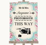 Vintage Shabby Chic Rose Photobooth This Way Left Customised Wedding Sign