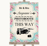 Vintage Shabby Chic Rose Photobooth This Way Right Customised Wedding Sign