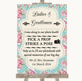 Vintage Shabby Chic Rose Pick A Prop Photobooth Customised Wedding Sign